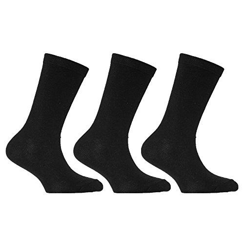Universaltextilien Kinder Socken, reich an Baumwolle (3er Pack) (EUR 31-36 (8-12 Jahre)) (Schwarz)
