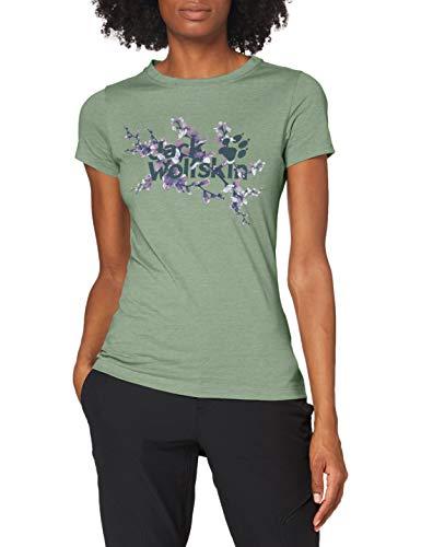 Jack Wolfskin Damen Logo T-Shirt, ming Green, 1