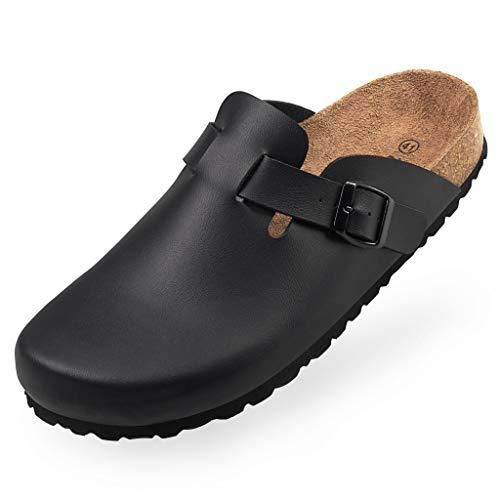BOnova Wesel Bonoflor in Bonoflor schwarz 46: Hausschuhe mit Kork-Fußbett aus Bonoflor, hergestellt in der EU