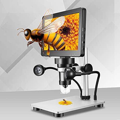 InLoveArts Microscopio Digital última Pantalla de 7 Pulgadas DM9 HD de 12MP Microscopio Digital 1200x LCD con Dos Controladores de Enfoque para iPhone Android iPad Mac Windows