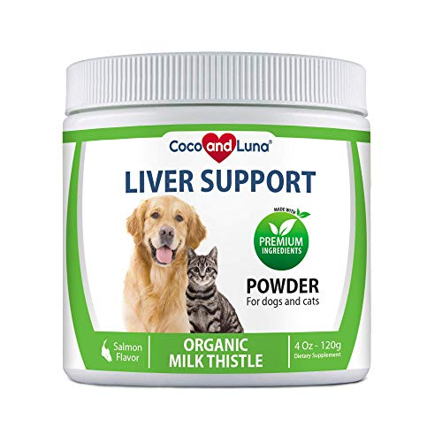 Milk Thistle for Dogs and Cats, Liver Support for Dogs, Detox, Hepatic Support, Promotes Liver Healthy Function for Pets, VIT B1,B2,B6,B12-4 Oz Powder (120g)