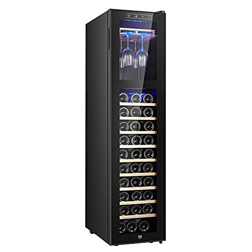 Vinoteca, Nevera Vinos Luz LED, Display Digital, 9 Estantes, Doble Aislamiento, Zonas de Temperatura de 11-18 Grados, Baldas Acero Inoxidable(30 Botellas),A