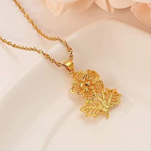 ZJJLWL Co.,ltd Collar con Colgante de Flor Collar para Mujer/Hombre joyería para Amantes Flor de Color Dorado Abalorios románticos de fantasíabisutería