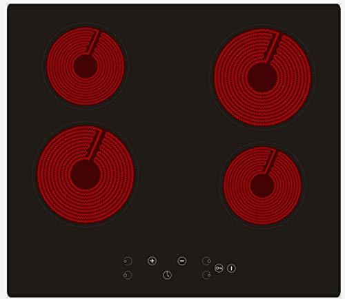 Ingebouwde 4-zones keramische kookplaat, 60 cm elektrische keramische kookplaat met sensoraanraakbediening, glazen elektrische kookplaat Kookplaat met hittebescherming - (6000 W)