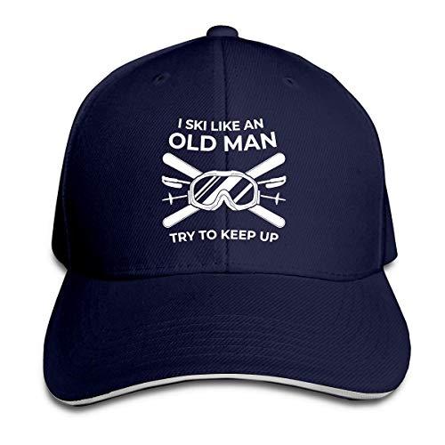 NA Ich fahre Ski wie EIN Alter Mann Versuchen Sie, verstellbare Sandwichkappe Baseballmütze Papa Hut Casquette Hut zu halten
