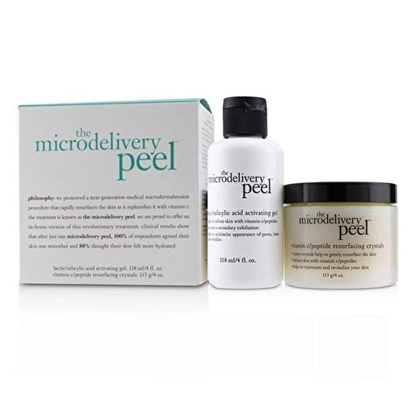 保存誓い弾丸フィロソフィー The Microdelivery Peel: Lactic/Salicylic Acid Activating Gel 118ml + Vitamin C/Peptide Resurfacing Crystals 2pcs並行輸入品