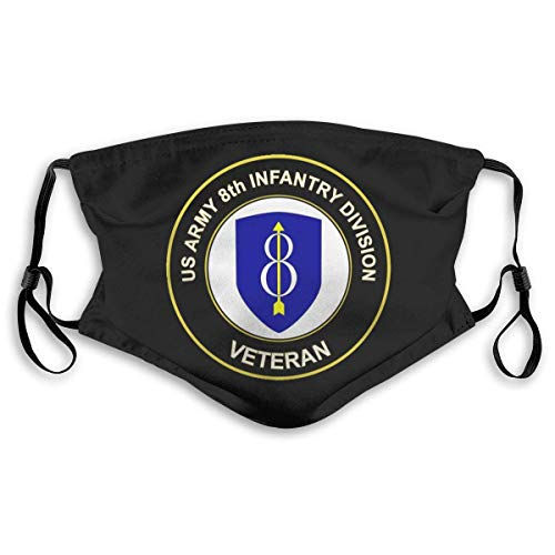 Army 8th Infantry Division Veteran Logo Unisex Reusable and Dustproof Mouth Covering with Fliters S Black