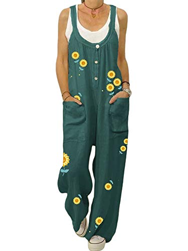ORANDESIGN Damen-Latzhose aus Leinen, lockere Passform, Haremshose, Casual Vintage Jumpsuit, große Größe, Sommerlatzhose Gr. 34, D. Grün.