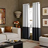 Curtainworks 1Q80370GWT Kendall Curtain Panel, 84 inch, White/Dark Grey