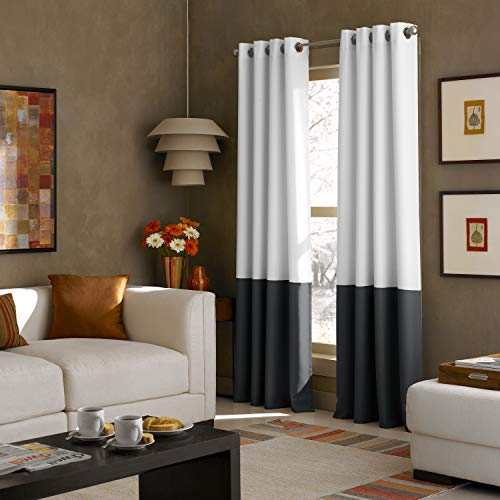 Curtainworks Kendall Color Block Grommet Curtain Panel, 108 inch, White