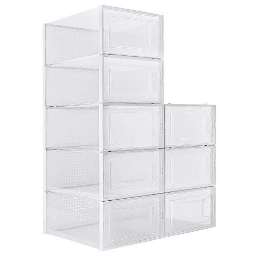 WAYTRIM Foldable Shoe Box Stackable Clear Shoe Storage Box - Storage Bins Shoe Container Organizer 8 Pack - White Medium