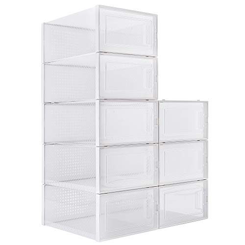 WAYTRIM Foldable Shoe Box, Stackable Clear Shoe Storage Box - Storage Bins Shoe Container Organizer, 8 Pack - White, Medium