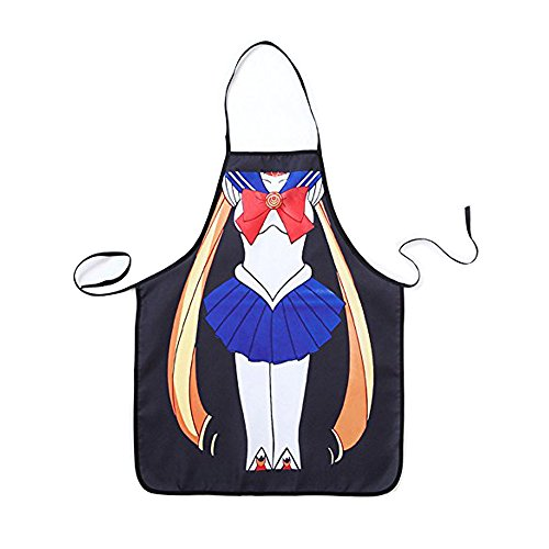 Polyester Cartoon Sailor Moon Creative Kitchen Bib Aprons for Cooking,BBQ,Gardening or Painting