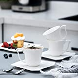 MALACASA, Serie Amparo, 60 TLG. Cremeweiß Porzellan Geschirrset Tafelservice mit Kaffeeservice, Dessertteller, Suppenteller und Flachteller für 12 Personen - 5