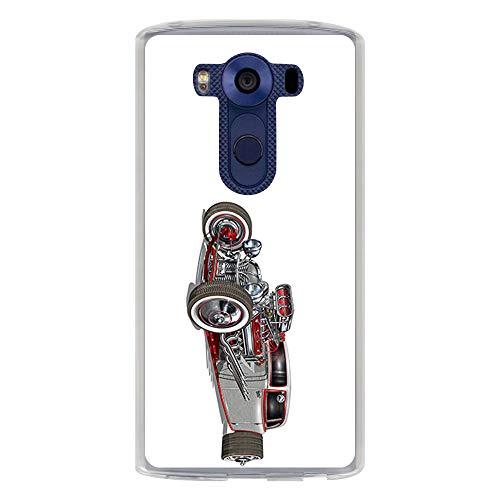 BJJ SHOP Transparent Hülle für [ LG G4 PRO LG V10 ], Klar Flexible Silikonhülle, Design: Verchromte, graues Hot Rod