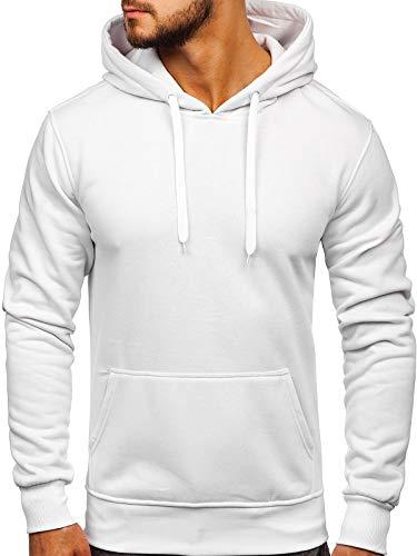 BOLF Herren Kapuzenpullover Sweatjacke Hoodie Sweatshirt mit Kapuze Farbvarianten Kapuzenpulli Freizeit Training Gym Fitness J.Style 2009 Weiß L [1A1]