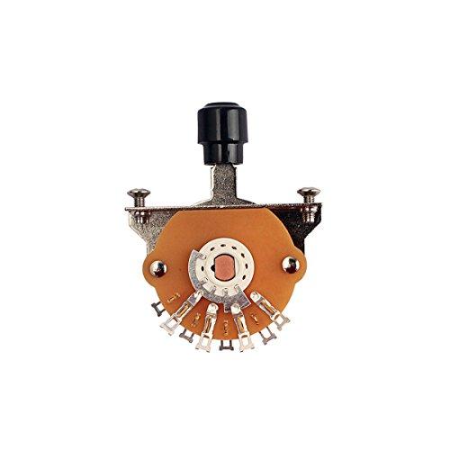 Heallily Selector de palanca de 3 vías, interruptor de palanca con tornillos y perilla para guitarra