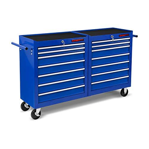 EBERTH Werkstattwagen blau (14 kugel-gelagerte Schubfächer, Antirutschmatten, abschließbar, 2 Lenkrollen, 2 Rollen mit Feststellbremse, pulverbeschichtet)
