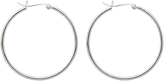 Large Sterling Silver Round Hoop Earrings w/Click-Down Clasp, (2mm Tube)