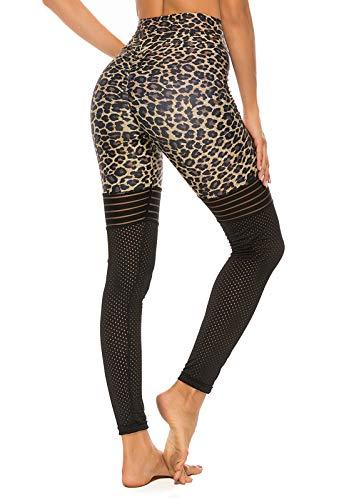 FITTOO Pantalones Deportivos Mujer Yoga Leggings de Alta Cintura Elásticos Transpirables para Running Fitness#5 Leopardo Small