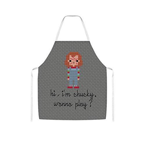 Nuberyl Chu-cky Wanna Play - Delantal (1) tela de lana, diseo cmodo, impermeable, para adultos, para mujeres, hombres, cocinero, esposa, cocina, cocina