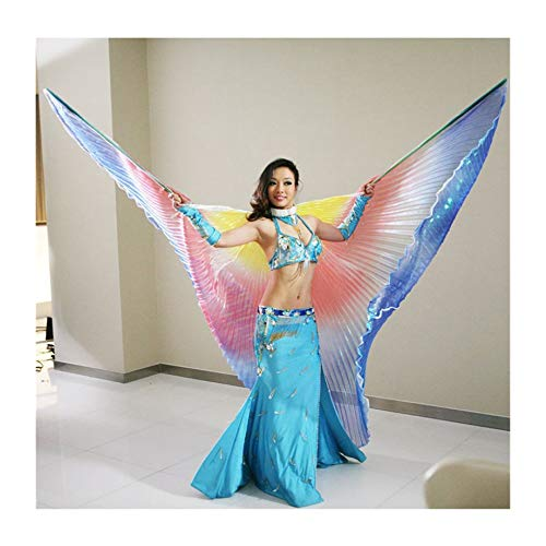 SUKDO Alas De Danza del Vientre para Mujer con Bolsa De Almacenamiento Porttil Alas De ngel De ISIS De 360  Ropa De Actuacin De Danza India Egipcia Disfraz De Carnaval,B