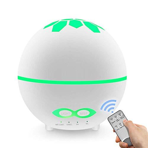 BIGMALL Ätherisches Öl Diffusor Ball Fernbefeuchter Bunte Nachtlicht Spray Mini Aromatherapie Maschine Weiß 400Ml