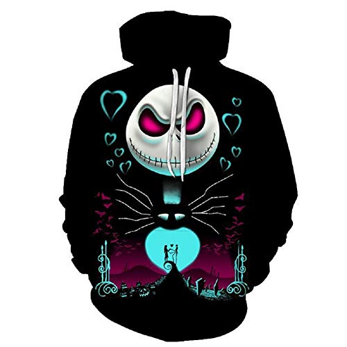 PONGONE The Nightmare Before Christmas Jack & Sally Skellington Face Pullover 3D Hoodie 2XL