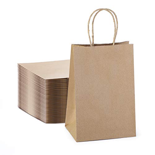 Kraft Paper Bags with Handles, 5.25x3.75x8 Brown Kraft Gift Bag, 50 Pc Bulk Grocery Shopping Bags, Party, Retail, Business, Packaging, Merchandise, Boutique, Wedding Favor, Baby Shower, Small Business