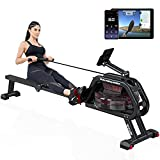 SNODE WR100 Water Rowing Machine with Bluetooth APP (Free Tutorials), Rowing Machine for Home Use, Foldable Design & Heavy Duty Frame (Black)