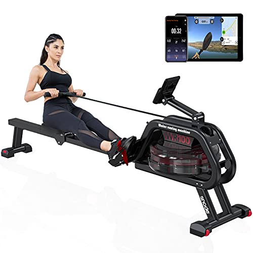 SNODE Water Rowing Machine with Bluetooth, Rowing Machine for Home Use with Free APP, Water Resistance Wood Rower Indoor Exercise Machine, Soft Seat, Smooth Quiet Home Fitness Workout