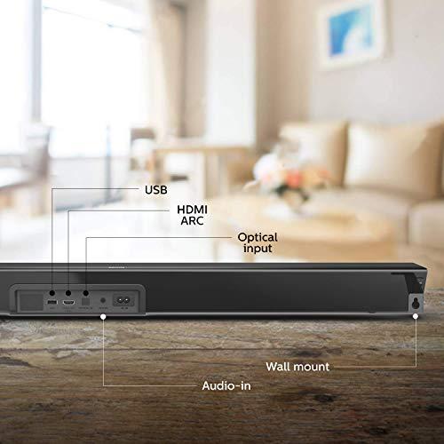 Philips B7305/10 Soundbar Bluetooth mit Subwoofer kabellos (2.1 Kanäle, 300 W Ausgangsleistung, Dolby Audio, HDMI ARC, Markantes Design Inklusive Wandhalterung) - 2020/2021 Modell