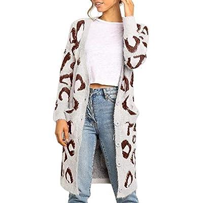 LEKODE Women's Sweatshirt Cardigan Printed Button Long Sleeve Knit Sweater(Coffee,L)