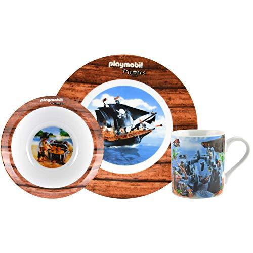 PLAYMOBIL United Labels Juego Tazas, Taza, Cuencos, vajilla y Platos (3 Piezas), diseño de Pirata, 3 Teilig