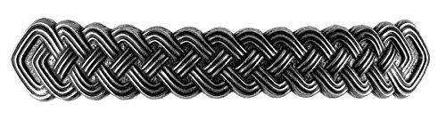 Celtic Braid Bar Hair Clip, Extra Large Hand Crafted Metal Barrette Made in the USA with a 100mm Imported French Clip by Oberon Design