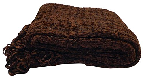 Just Contempo Chenille-Überwurf, Violett, 150x 200cm, Polyester, Chocolate Brown, 150 x 200 cm