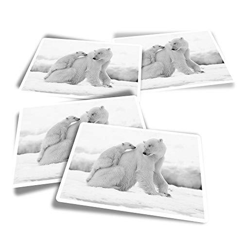 Pegatinas rectangulares de vinilo (juego de 4) – BW – Lindo oso polar familia nieve pegatinas divertidas para portátiles, tabletas, equipaje, reserva de chatarra #39481