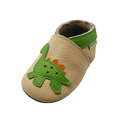 SAYOYO Baby Dinosaurs Soft Sole Beige Leather Infant and Toddler Shoes 12-18Months