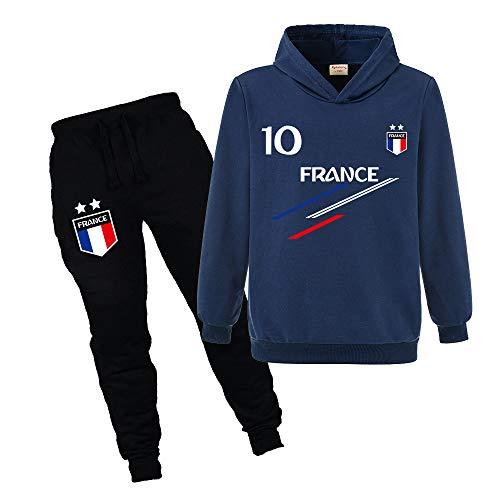 Jogging Survêtement De Football France 2 étoiles Enfant Sweat à Capuche avec Poche (style1,9-10 Ans)