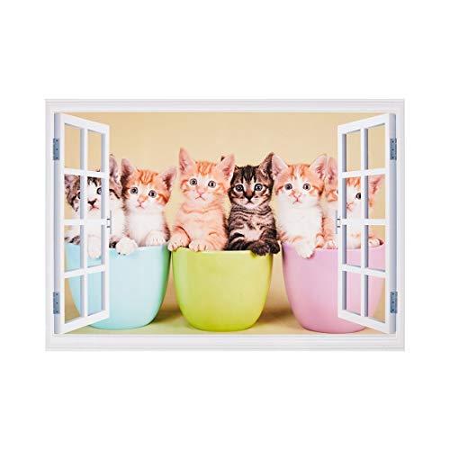 Unbekannt TRI Wandtattoo, Wandsticker, Wandaufkleber, Fensterblick, Fototapete, Wandmotiv, Wall Sticker, Zimmer Dekoration, selbstklebendes Wandbild, geöffnetes Fenster, Katzenmotiv, 50 x 70 cm