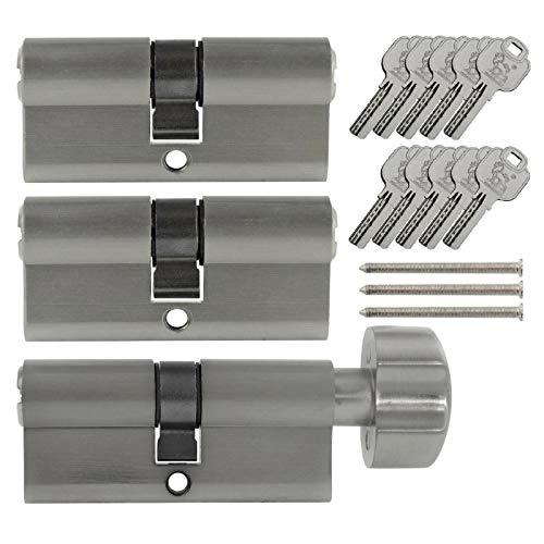 3x Tür Zylinder Schloss 70 mm gleichschliessend +10 Schlüssel Schliessanlage