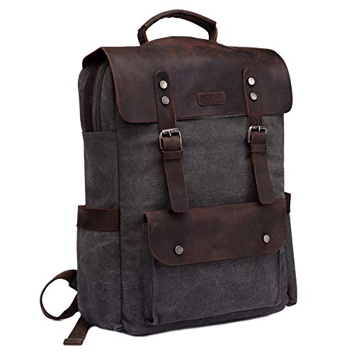 VASCHY Vintage Canvas Leather Backpack Campus Book-bag Outdoor Recreation fits 15.6 in Laptop Dark Grey