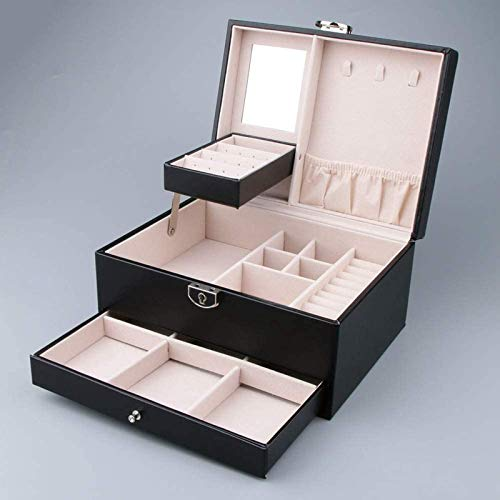 Ikpdbw Jewelry Storage Box, Multilayer Leather Portable Earrings, Ring Earrings, Jewelry Storage Display Cabinet Box, Jewelry Packaging Gift