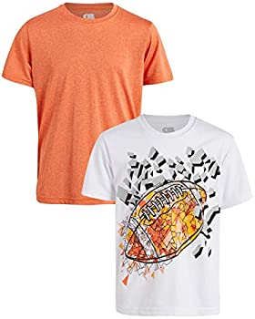ONLY BOYS Quick Dry Breathable Performance Active Graphic T-Shirts  2 Pack  White/Orange/Football Size 8/10