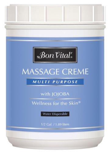 Bon Vital' Multi-Purpose Massage Crème, Professional Massage Cream with Aloe Vera to Relax Sore Muscles, Increase Circulation and Repair Dry Skin, Full Body Massage Moisturizer Cream, 1/2 Gallon Jar