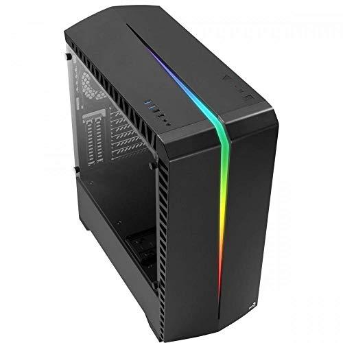 AeroCool SCAR - PC-Gehäuse, ATX, Gehärtetes Glas, RGB 15-Modi, 12-cm-Lüfter, Schwarz