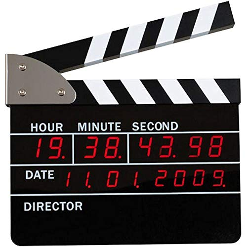 La Chaise Longue 29-C1-086 Réveil numérique Clap de cinéma Noir et blanc Affichage lumineux LCD rouge Horloge et calendrier H22 x 3 x 23 cm