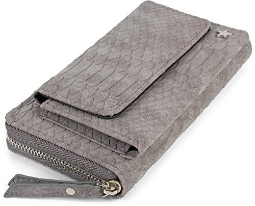 styleBREAKER Damen Portemonnaie in Krokodil Optik mit Handyfach, Reißverschluss, Geldbörse 02040129, Farbe:Grau