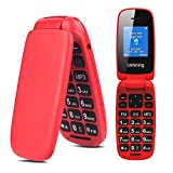 Ushining 3G Unlocked Senior Flip Phone Large Icon Cell Phone Easy to Use Flip Phones for Seniors and Kids AT&T Prepaid Card Suitable(Red)