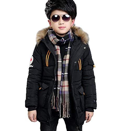 SXSHUN Niños Chaqueta de Invierno con 2 Cremalleras Abrigo Acolchado con Capucha de Pelo, Negro, 12-14 años (Etiqueta: 160cm)